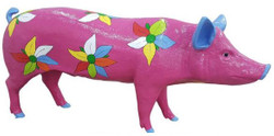 Casa Padrino designer decoration figure pig with flowers design purple / multicolor 160 x H. 70 cm - Life-size decoration sculpture - Weatherproof garden decoration