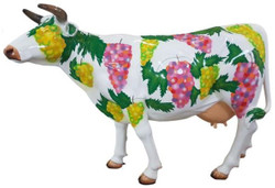 Casa Padrino designer garden decoration sculpture cow with grape design white / multicolor 210 x 55 x H. 147 cm - Huge weather-resistant decorative figure - Life-size animal figure