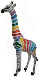 Casa Padrino designer decoration figure giraffe with stripes white / multicolor H. 205 cm - Huge decoration figure - Garden decoration sculpture - Garden Figure