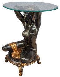 Casa Padrino Art Nouveau side table kneeling woman black / gold H. 62 cm - Elegant table with round glass top - Living room furniture