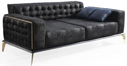 Casa Padrino luxury Art Deco Chesterfield sofa black / gray / brass 236 x 99 x H. 86 cm - Noble living room sofa with decorative pillows - Luxury Quality