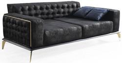 Casa Padrino Luxus Art Deco Chesterfield Sofa Schwarz / Grau / Messingfarben 236 x 99 x H. 86 cm - Edles Wohnzimmer Sofa mit dekorativen Kissen - Luxus Qualität