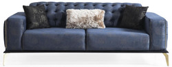 Casa Padrino Luxus Art Deco Chesterfield Sofa Blau / Grau / Schwarz / Messingfarben 236 x 99 x H. 86 cm - Edles Wohnzimmer Sofa mit dekorativen Kissen - Luxus Qualität