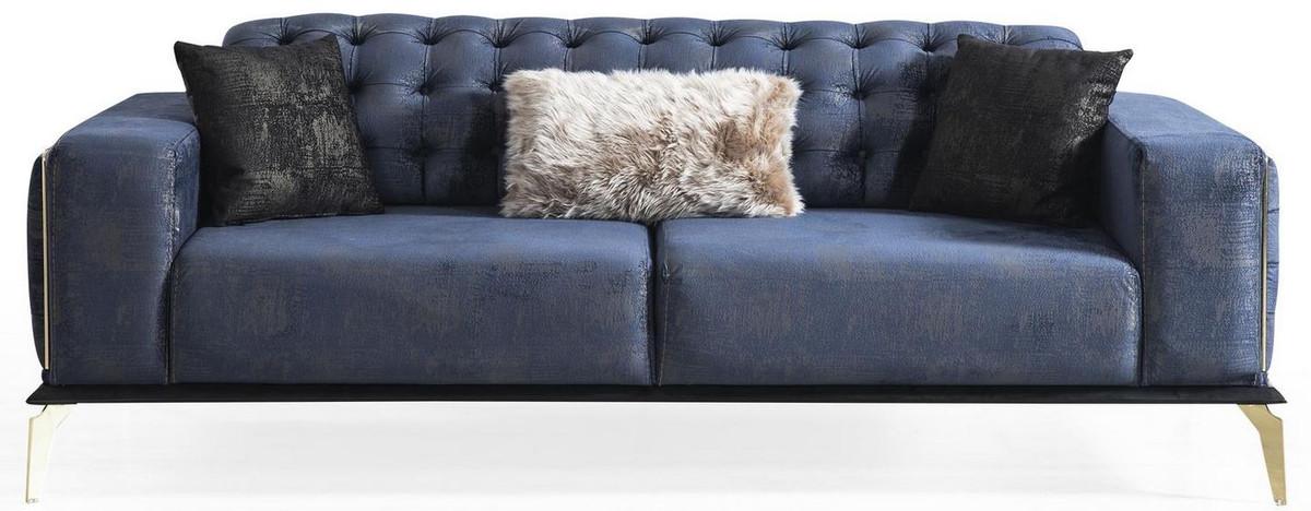 casa padrino ensemble de salon art deco chesterfield de luxe noir bleu blanc 2 canapes et 2 fauteuils pivotants et 1 table basse meubles de