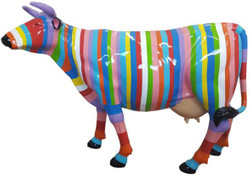 Casa Padrino designer garden decoration sculpture cow with stripes multicolor 210 x 55 x H. 147 cm - Huge weather-resistant decorative figure - Life-size animal figure