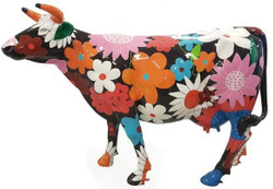 Casa Padrino designer garden decoration sculpture cow with floral design black / multicolor 210 x 55 x H. 147 cm - Huge weather-resistant decorative figure - Life-size animal figure