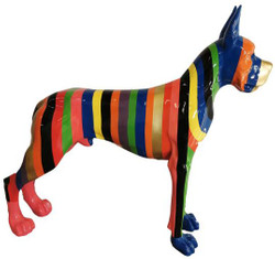 Casa Padrino designer decorative figure dog German Mastiff with stripes multicolored 125 x H. 110 cm - Life-sized decorative sculpture - Weather-resistant animal figure