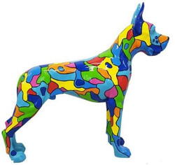 Casa Padrino designer decorative figure dog German Mastiff multicolored 125 x H. 110 cm - Life-sized decorative sculpture - Weather-resistant animal figure
