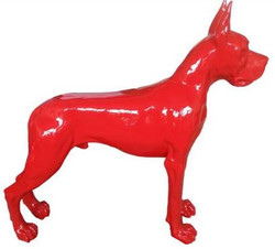 Casa Padrino designer decorative figure dog German Mastiff red 125 x H. 110 cm - Life-sized decorative sculpture - Weather-resistant animal figure