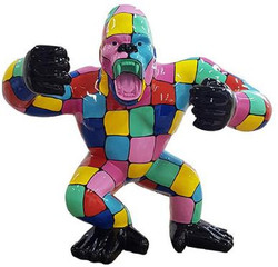 Casa Padrino designer decorative sculpture gorilla monkey multicolored / black 125 x 60 x H. 102 cm - Weather-resistant decorative figure