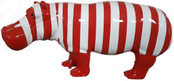 Casa Padrino designer decorative figure hippo with stripes red / white 180 x H. 79 cm - Decorative sculpture - Huge garden figure - Garden Decoration