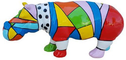 Casa Padrino designer decorative figure hippo colorful 100 x H. 45 cm - Decorative sculpture - Garden figure - Weatherproof garden decoration