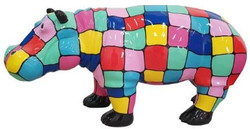 Casa Padrino designer decorative figure hippo multicolored / black 100 x H. 45 cm - Decorative sculpture - Garden figure - Weatherproof garden decoration
