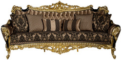 Casa Padrino luxury baroque sofa brown / black / gold 260 x 110 x H. 117 cm - Magnificent living room sofa with decorative pillows - Noble baroque furniture