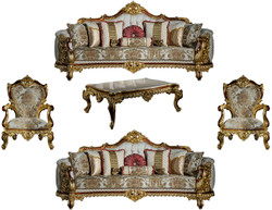 Casa Padrino luxury baroque living room set gray / red / gold - 2 Sofas & 2 Armchairs & 1 Coffee Table - Living room furniture in baroque style - Noble & Magnificent