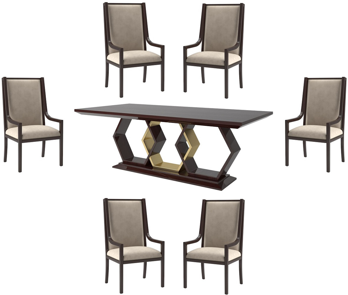 Casa Padrino Luxury Art Deco Dining Room Set Beige / Dark Brown High Gloss  / Gold   9 Dining Room Table & 9 Dining Chairs   Art Deco Dining Furniture  ...
