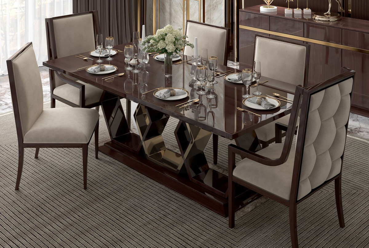 Casa Padrino Luxury Art Deco Dining Room Set Beige Dark Brown High Gloss Gold 1 Dining Room Table 6 Dining Chairs Art Deco Dining Furniture Luxury Quality