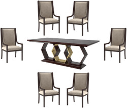 Casa Padrino Luxury Art Deco Dining Room Set Beige / Dark Brown High Gloss / Gold - 1 Dining Room Table & 6 Dining Chairs - Art Deco Dining Furniture - Luxury Quality