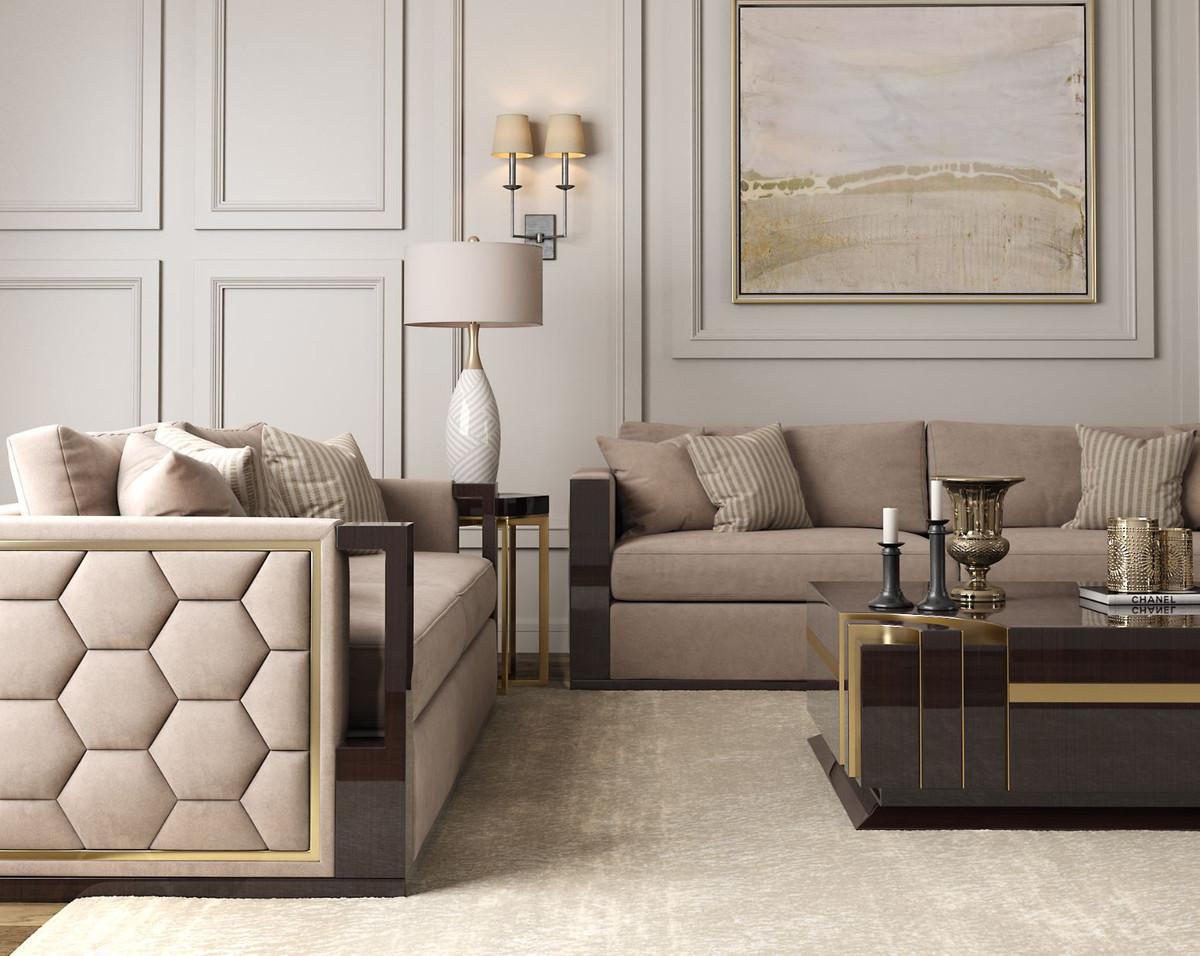 Casa Padrino Luxus Art Deco Samt Sofa Beige Dunkelbraun Hochglanz Gold 245 X 95 X H 75 Cm Edles Wohnzimmer Sofa Luxus Qualitat