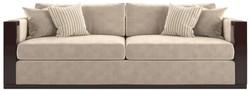 Casa Padrino Luxus Art Deco Samt Sofa Beige / Dunkelbraun Hochglanz / Gold 245 x 95 x H. 75 cm - Edles Wohnzimmer Sofa - Luxus Qualität