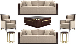 Casa Padrino luxury Art Deco living room set beige / dark brown high gloss / gold - 2 Sofas & 2 Armchairs & 1 Coffee Table & 2 Side Tables - Noble living room furniture - Luxury Quality