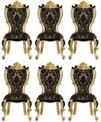 Casa Padrino luxury baroque dining chair set with an elegant pattern brown / black / gold 60 x 65 x H. 120 cm - Kitchen chairs set of 6 in baroque style - Baroque dining room furniture
