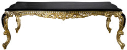 Casa Padrino luxury baroque dining table black / gold 230 x 114 x H. 80 cm - Magnificent solid wood dining room table - Dining room furniture in baroque style