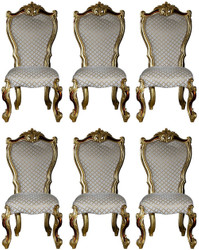 Casa Padrino luxury baroque dining chair set gray / gold / red / gold 58 x 57 x H. 107 cm - Kitchen chairs set of 6 in baroque style - Baroque dining room furniture