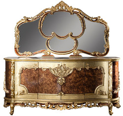 Casa Padrino luxury baroque furniture set sideboard with mirror cream / beige / brown / gold - Magnificent solid wood cabinet with wall mirror - Noble furniture in baroque style - Luxury Quality