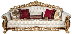 Casa Padrino luxury baroque sofa white / gold / brown / gold 225 x 100 x H. 110 cm - Magnificent living room sofa with decorative pillows - Baroque Furniture