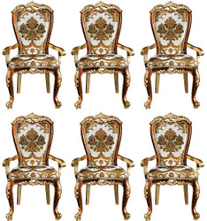 Casa Padrino luxury baroque dining chair set with armrests and elegant pattern 57 x 54 x H. 115 cm - Noble kitchen chairs set of 6 in baroque style - Baroque dining room furniture