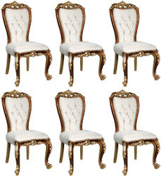Casa Padrino luxury baroque dining chair set white / gold / brown / gold 57 x 54 x H. 115 cm - Noble kitchen chairs set of 6 in baroque style - Baroque dining room furniture