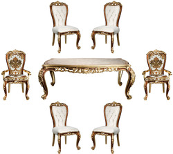 Casa Padrino Luxury Baroque Dining Room Set White / Gold / Brown / Gold - 1 Dining Room Table & 6 Dining Chairs - Noble Dining Room Furniture in Baroque Style - Noble & Magnificent