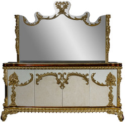 Casa Padrino luxury baroque furniture set sideboard with mirror - Magnificent solid wood cabinet with wall mirror - Noble furniture in baroque style - Luxury Quality