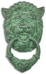 Casa Padrino Art Nouveau cast iron door knocker lion head green 19.6 x H. 32.3 cm - Baroque & Art Nouveau Decoration Accessories