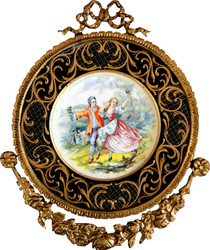 Casa Padrino baroque ceramic mural with decorated frame 38 x 32 cm - baroque wall decoration wall plate antique style
