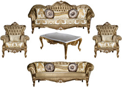 Casa Padrino luxury baroque living room set gold / white - 2 Sofas & 2 Armchairs & 1 Coffee Table - Living room furniture in baroque style - Noble & Magnificent