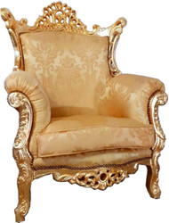 Casa Padrino baroque armchair Al Capone gold pattern / gold 90 x 80 x H. 127 cm - Handmade antique style living room armchair with fine satin fabric - Baroque Furniture