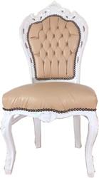 Casa Padrino Barock Esszimmerstuhl Beige / Weiß 53 x 57 x H. 108 cm - Handgefertigter Antik Stil Massivholz Stuhl mit edlem Kunstleder - Barock Esszimmer Möbel