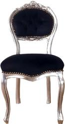 Casa Padrino Barock Damen Stuhl Schwarz / Silber 40 x 44 x H. 83 cm - Handgefertigter Schminktisch Stuhl mit edlem Samtstoff - Möbel im Barockstil