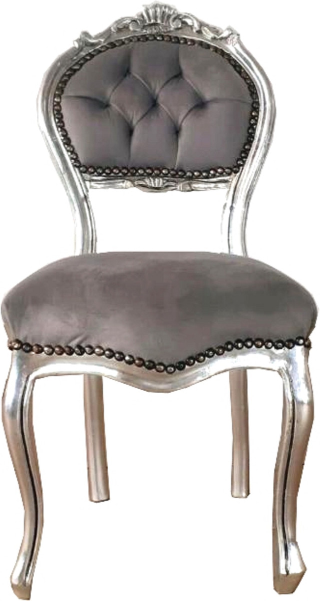 Casa Padrino Barock Damen Stuhl Grau Silber 40 X 44 X H 83 Cm Handgefertigter Schminktisch Stuhl Mit Edlem Samtstoff Mobel Im Barockstil