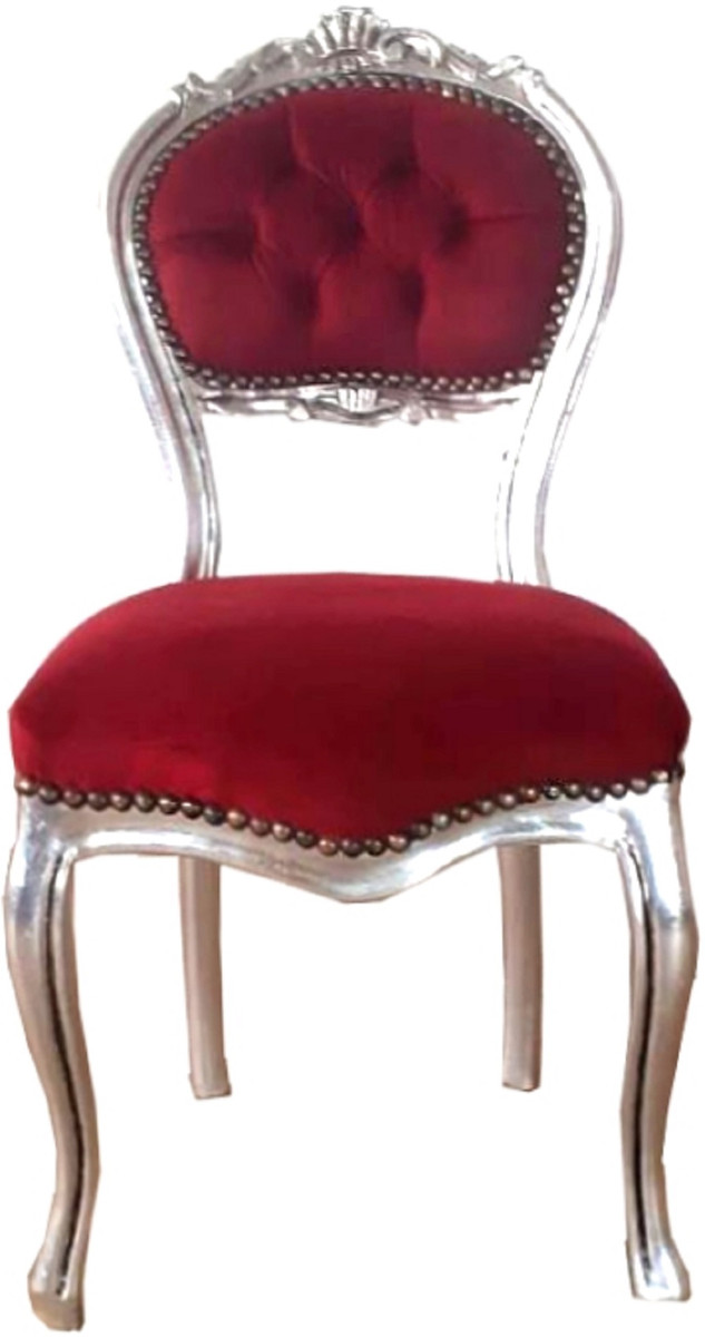 Casa Padrino Barock Damen Stuhl Bordeauxrot Silber 40 X 44 X H 83 Cm Handgefertigter Schminktisch Stuhl Mit Edlem Samtstoff Mobel Im Barockstil