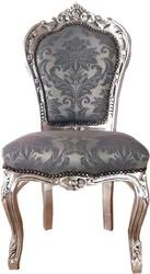 Casa Padrino Barock Esszimmerstuhl Grau Muster / Silber 53 x 57 x H. 108 cm - Handgefertigter Antik Stil Massivholz Stuhl mit edlem Satinstoff - Esszimmer Möbel im Barockstil