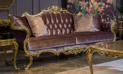 Casa Padrino luxury baroque velvet sofa lilac / gold 226 x 84 x H. 109 cm - Magnificent living room sofa with decorative pillows - Living room furniture in baroque style
