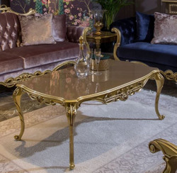 Casa Padrino Luxury Baroque Coffee Table Gray / Gold 123 x 77 x H. 52 cm - Noble Solid Wood Living Room Table in Baroque Style - Magnificent Baroque Furniture