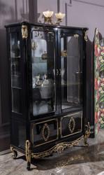 Casa Padrino Luxus Barock Vitrine Schwarz / Gold 124 x 54 x H. 194 cm - Massivholz Vitrinenschrank im Barockstil - Edel & Prunkvoll