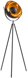 Casa Padrino designer studio lamp black / gold 65 x H. 140 cm - Retro tripod floor lamp - Living room decorative lamp