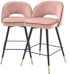 Casa Padrino Luxus Barstuhl Set Rosa / Schwarz / Messingfarben 51 x 52 x H. 92,5 cm - Barstühle mit drehbarer Sitzfläche und edlem Samtsoff - Luxus Bar Möbel