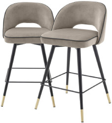 Casa Padrino luxury bar chair set greige / black / brass 51 x 52 x H. 92.5 cm - Bar stools with rotating seat and noble velvet fabric - Luxury Bar Furniture