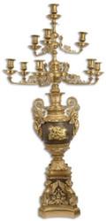 Casa Padrino Barock Kerzenhalter Gold / Bronze 62 x 62 x H. 122,5 cm - Prunkvoller vergoldeter Bronze Kerzenständer 10 flammig - Edel & Prunkvoll